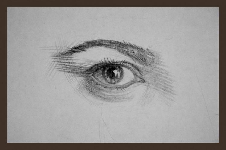 Рисунок глаза. Обратите внимание на контуры, придающие объём.