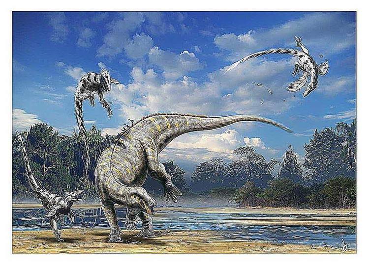 Хадрозавр отбивается от стаи дейнонихов