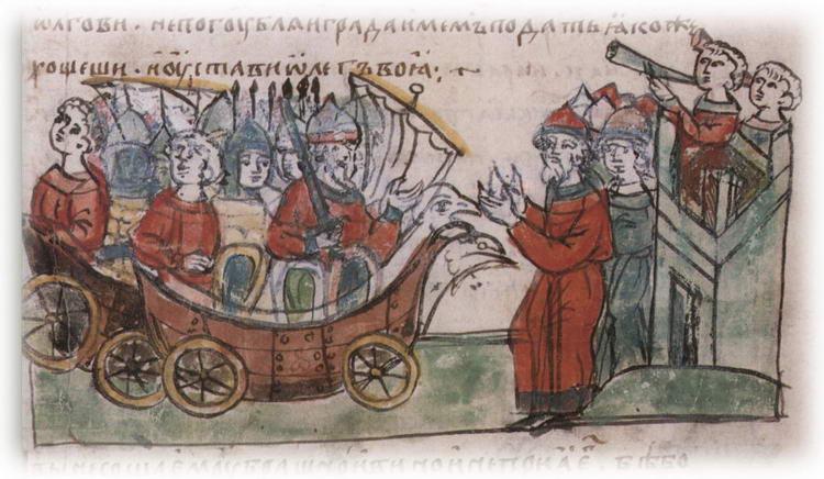Олег и его воины на кораблях с колесами у Царьграда