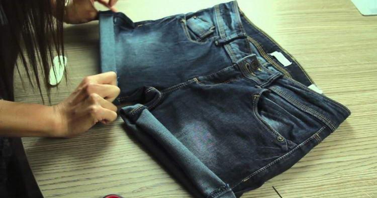 Как сделать бермуды из старых джинс фото
