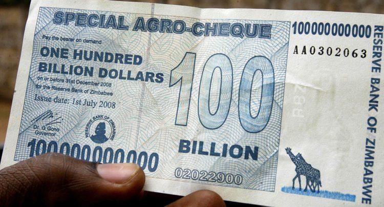Купюра достоинством 100 миллиардов зимбабвийских долларов